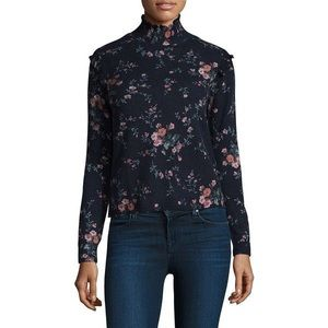 Joie Robbia Floral Cashmere Turtleneck Sweater Med